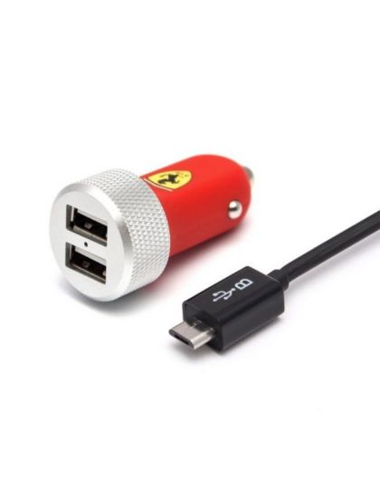 Slim Car charger Dual MicroUSB - FERRARI